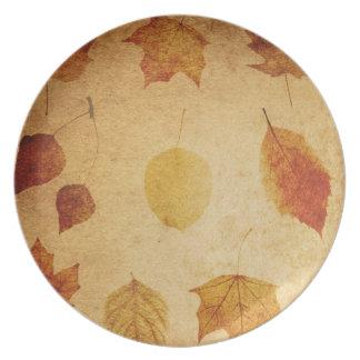 placa de cena del otoño de la acción de gracias plato para fiesta