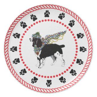 Placa de cena del perro de aguas de saltador de lo plato de cena