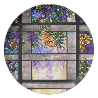 Placa de cena del vitral de Nouveau Tiffany del ar Plato De Cena