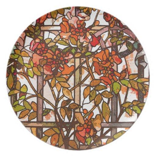 Placa de cena del vitral de Nouveau Tiffany del ar Plato De Comida