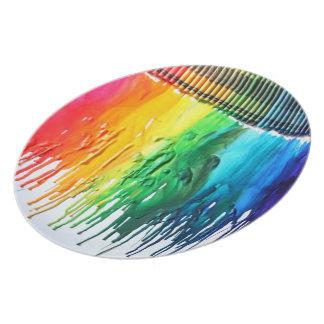 Placa de cena derretida arco iris del arte del cre plato para fiesta