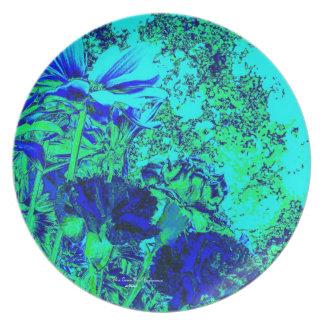 Placa de cena floral de la experiencia del verde a plato de cena