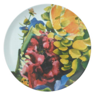 """""""Placa de cena floral de la melamina """" Plato De Cena"""