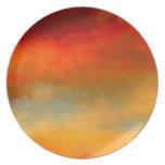 Placa de cena intranquila de los colores platos para fiestas