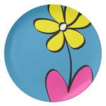 Placa de cena moderna de la flor de la margarita plato de comida