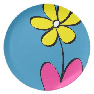 Placa de cena moderna de la flor de la margarita plato para fiesta