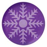 Placa de cena púrpura del copo de nieve del invier plato de cena