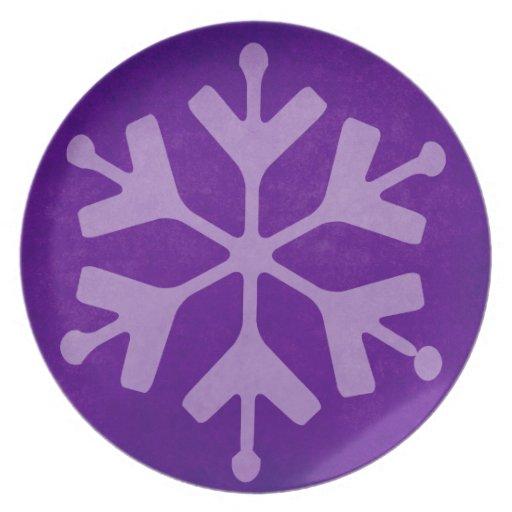 Placa de cena púrpura del copo de nieve del invier plato de comida