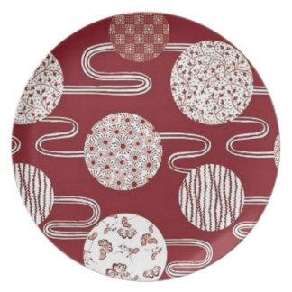 Placa de cena roja japonesa de la materia textil d platos para fiestas