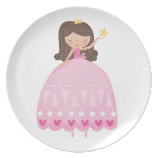 Placa de cena rosada bonita de la princesa plato para fiesta