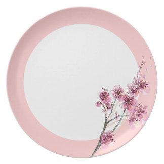 Placa de cena rosada de la melamina de Sakura Plato