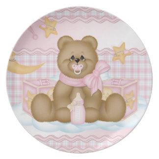 Placa de cena rosada de Teddyb de la hora de acost Platos De Comidas