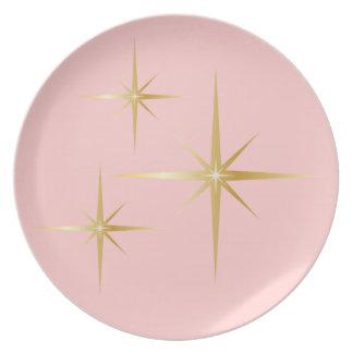 Placa de cena rosada retra de Starburst Platos