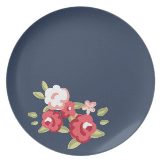 Placa de cena subió vintage de la melamina plato de cena