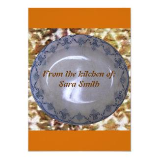 """Placa de cena, tarjeta de la receta invitación 5"""" x 7"""""""