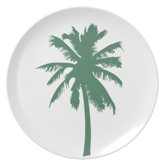 Placa de cena verde de la palmera plato de comida