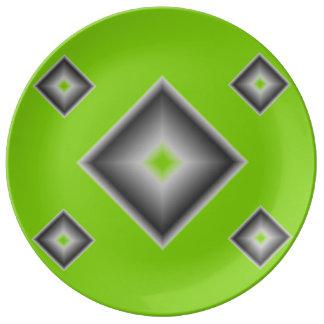Placa de cena verde de la porcelana de los plato de cerámica