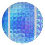 Placa de cerámica del extracto de cristal azul del platos para fiestas