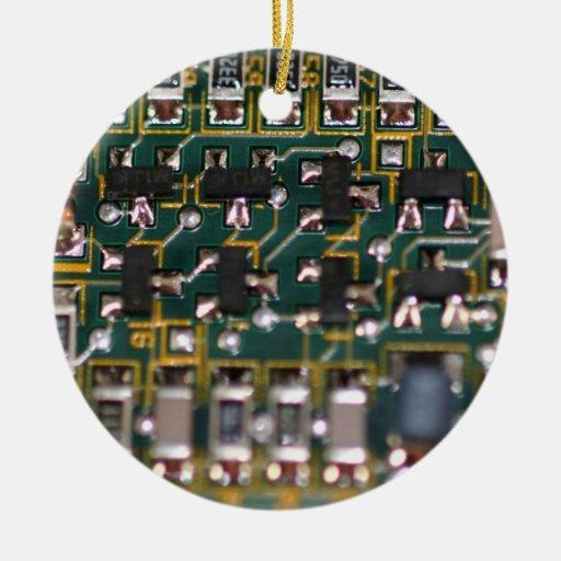 Placa de circuito adorno navideño redondo de cerámica