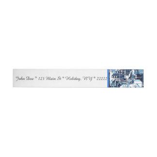Placa de circuito azul etiquetas postales