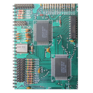 Placa de circuito, cuaderno de notas de la placa