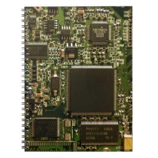 Placa de circuito de la impulsión dura del ordenad libro de apuntes