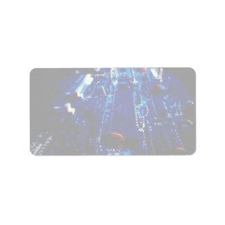 Placa de circuito del azul de la perspectiva etiquetas de dirección