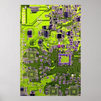 Placa de circuito del friki del ordenador - amaril póster