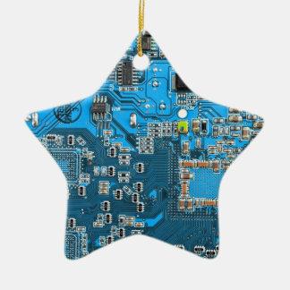 Placa de circuito del friki del ordenador - azul adorno navideño de cerámica en forma de estrella