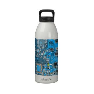 Placa de circuito del friki del ordenador - azul botellas de agua reutilizables