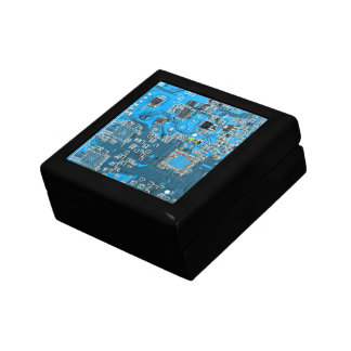 Placa de circuito del friki del ordenador - azul cajas de joyas