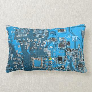 Placa de circuito del friki del ordenador - azul cojin