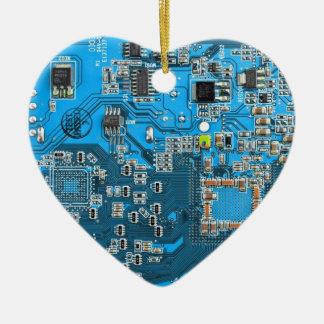 Placa de circuito del friki del ordenador - azul ornamento de reyes magos