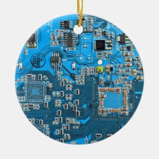 Placa de circuito del friki del ordenador - azul adornos de navidad