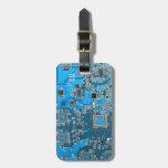 Placa de circuito del friki del ordenador - azul etiquetas para equipaje