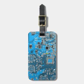 Placa de circuito del friki del ordenador - azul etiquetas de maletas