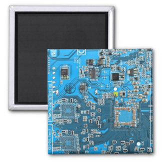 Placa de circuito del friki del ordenador - azul iman de nevera