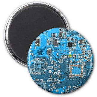 Placa de circuito del friki del ordenador - azul imán de nevera