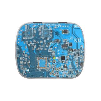 Placa de circuito del friki del ordenador - azul frascos de caramelos