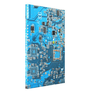 Placa de circuito del friki del ordenador - azul impresion en lona