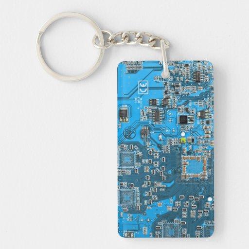 Placa de circuito del friki del ordenador - azul llavero rectangular acrílico a doble cara