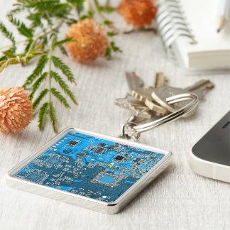 Placa de circuito del friki del ordenador - azul llavero cuadrado plateado