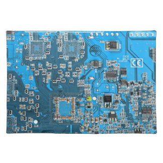 Placa de circuito del friki del ordenador - azul mantel