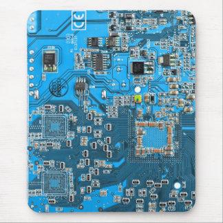 Placa de circuito del friki del ordenador - azul mouse pads