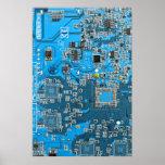 Placa de circuito del friki del ordenador - azul posters