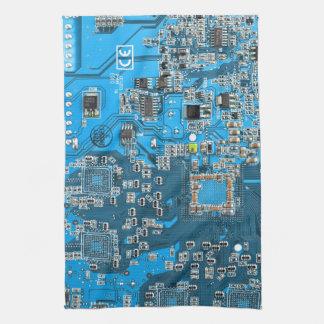 Placa de circuito del friki del ordenador - azul toalla de mano
