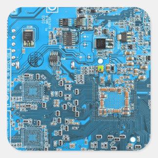 Placa de circuito del friki del ordenador - azul calcomania cuadrada personalizada