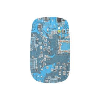 Placa de circuito del friki del ordenador - azul arte para uñas