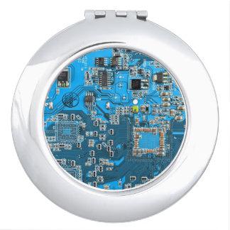 Placa de circuito del friki del ordenador - azul espejo compacto