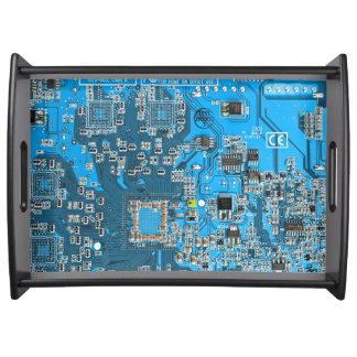 Placa de circuito del friki del ordenador - azul bandejas
